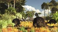 Prehistoric glyptodonts graze on grassy plains Fine Art Print