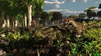 Utahraptors hunting the early iguanodonts, Tenontosaurus Fine Art Print