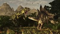 A large carnivorous Torvosaurus preying on a Stegosaurus Fine Art Print