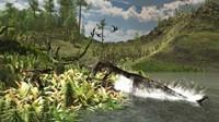 A Nothosaurus catches an unware Ceolophysis Fine Art Print