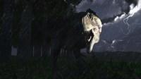 Acrocanthosaurus dinosaur on a stormy night Fine Art Print