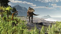 An Acrocanthosaurus roams an Early Cretaceous North America Fine Art Print