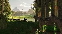 Ceratosaurus dinosaurs stalk a herd of Camptosaurus eating plants Fine Art Print