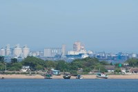 Africa, Mozambique, Maputo, port area boats Fine Art Print