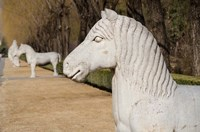 Carved horse statues, Changling Sacred Was, Beijing, China Fine Art Print