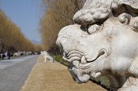 Carved statues of lion creature, Changling Sacred Way, Beijing, China Fine Art Print