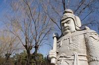 Carved warrior statues, Changling Sacred Was, Beijing, China Fine Art Print