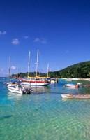 Boats, beach, La Digue, Seychelle Islands Fine Art Print