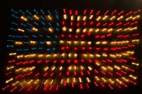 Americana Flag made of zoomed Neon Lights Fine Art Print
