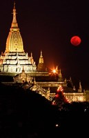 Asia, Myanmar, Bagan, moon rising over Ananda temple Fine Art Print