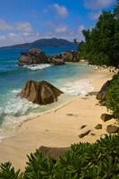 Coastal View of La Digue Island, Seychelles Fine Art Print