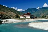Bhutan, Punaka, Mo Chhu, Punaka Dzong, Monastery Fine Art Print