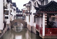 Canal Seperates White Ming Buildings, Suzhoul, Jiangsu, China Fine Art Print