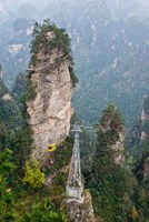 Cable Car To Yellow Stone Stronghold Village, Zhangjiajie National Forest Park, Hunnan, China Fine Art Print