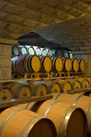 Barrels in cellar at Chateau Changyu-Castel, Shandong Province, China Fine Art Print