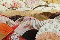 Colorful fans at market in Xian, China Fine Art Print