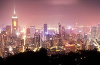 Central Overview from Stubbs Road Lookout, Hong Kong, China Fine Art Print