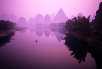 Fisherman on Raft in Li River, Yangshou, Guanxi, China Fine Art Print