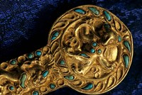 Detail of Dagger, Gold Artifacts from Tillya Tepe Find, Burial 4, Six Tombs of Bactrian Nomads Fine Art Print
