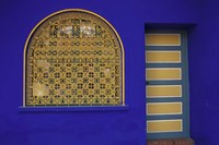 Doorway in Jardin Majorelle, Marrakech, Morocco Fine Art Print
