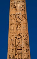Egypt, Temple of Luxor, Hieroglyphics, Obelisk of Ramesses II Fine Art Print