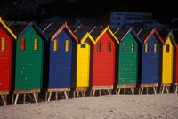 Colorful Bathing Boxes, South Africa Fine Art Print