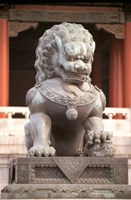 China, Beijing, Forbidden City. Bronze lion statue Fine Art Print