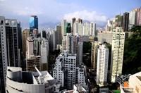 Apartment Buildings of Causeway Bay District, Hong Kong, China Fine Art Print