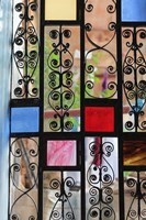 Africa, Tanzania, Zanzibar, Stone Town. Stained glass and iron door. Fine Art Print