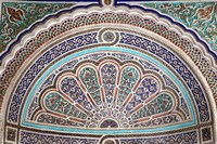 Africa, Morocco, Marrakech. Painted stucco detail at El Bahia Palace. Fine Art Print