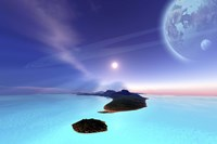 Beautiful cosmic seascape on an alien world Fine Art Print