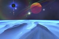 Blue Fog and Mountains on Alien Planet Fine Art Print