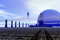 Futuristic City in the Milky Way Fine Art Print