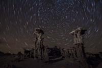 Star trails above sand tufa formations at Mono Lake, California Fine Art Print