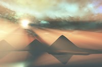 Sunrays shine down on three pyramids along the Nile River on the Giza Plateau Fine Art Print