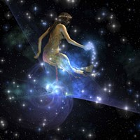 Celesta, spirit creature of the universe, spreads stars throughout the cosmos Fine Art Print