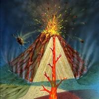 Diagram of a volcano erupting Fine Art Print