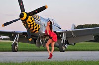 Sexy 1940's style pin-up girl posing with a P-51 Mustang Fine Art Print
