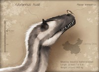 Yutyrannus huali is a feathered tyrannosauroid from the Early Cretacous of China Fine Art Print