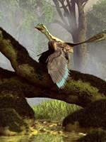 An Archaeopteryx on a log above a stream Fine Art Print
