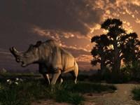 A Megacerops grazing a prehistoric landscape Fine Art Print