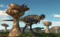 A pair of Aucasaurus dinosaurs walk amongst a forest of stone sculptures Fine Art Print