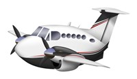 Cartoon illustration of a Beechcraft King Air Fine Art Print