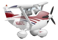 Cartoon illustration of a Cessna 182 aeroplane Fine Art Print