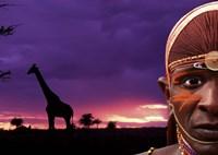 Maasai Warrior with Sunset on the Serengeti, Kenya Fine Art Print