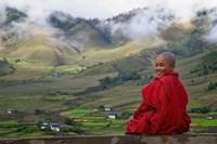 Monk and Farmlands in the Phobjikha Valley, Gangtey Village, Bhutan Framed Print