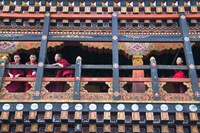 Monks in the Kichu Lhakhang Dzong, Paro, Bhutan Fine Art Print