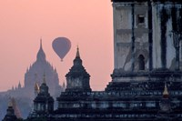 Hot Air balloon over the temple complex of Pagan at dawn, Burma Fine Art Print