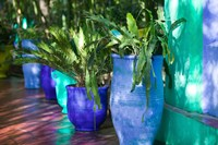 Jardin Majorelle and Museum of Islamic Art, Villa Pottery, Marrakech, Morocco Fine Art Print