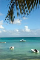 Mauritius, Grand Baie, Boats anchored in Grand Baie Fine Art Print